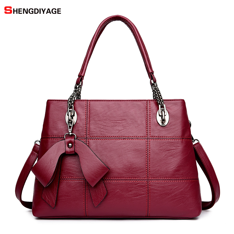 2018 Top-handle bags Leather luxury handbags women bags designer female Embroidery casual big shoulder bag Tote for girls SAC four arrows lady top handle bags handbags women famous brands female stitching casual big shoulder bag tote for girls l4 3046