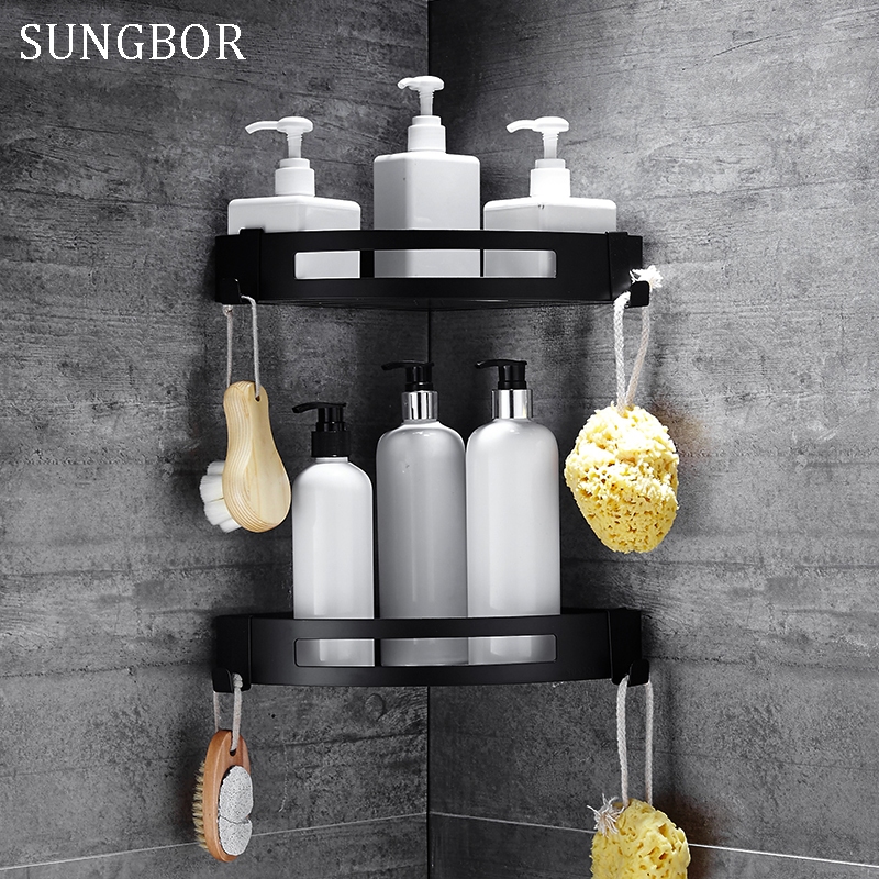 Antique Corner Shelf Rack Bathroom Shelves Aluminum Storage Rack Space Aluminum Bathroom Shelf Black Shelves With Hooks HL-3668H