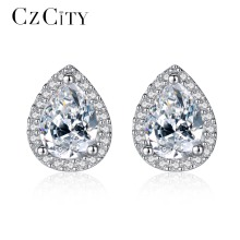 CZCITY Brand Classic Water Drop Cubic Zirconia Main Stone with Tiny CZ Paved Silver Earrings Women Luxury Jewelry Wholesale