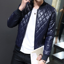 Hot 2016 autumn and winter fashion men's leather jacket collar Slim washed pu leather jacket coat Quilted Jacket M-3XL 4 colors