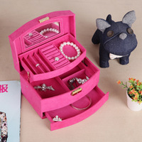 Guanya Four color Flannelette jewelry box 3 layers jewelry holder Automatic wood storage box watch box for girl gift