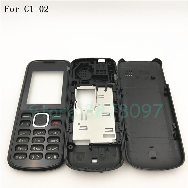 free shipping 70d0b c886d US $4.09 6% OFF|Original Battery Back Cover Housing For Nokia C1 C1 02  housing Front Frame Battery Back Cover+English Keypad With Logo-in Mobile  Phone ...