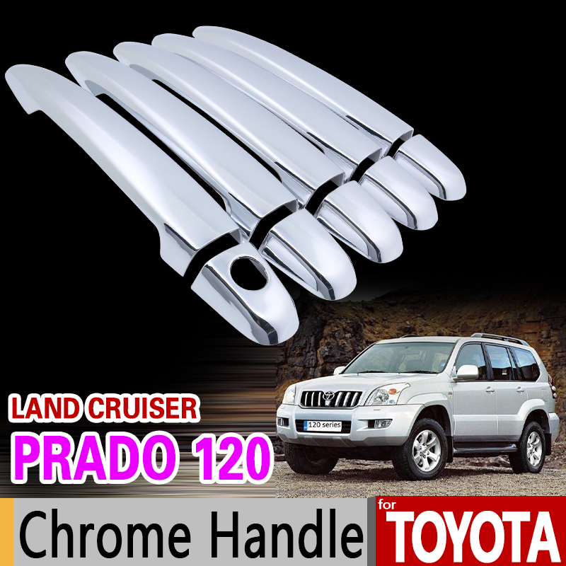 for Toyota Land Cruiser Prado 120 2003-2009 Chrome Handle Cover Trim Set J120 LC120 2005 2007 2008 Car Accessories Car Styling mzorange for toyota prado 120 2700 4000 for land cruiser lc120 2002 2003 2004 2005 2006 2007 2008 2009 front fog light fog lamp