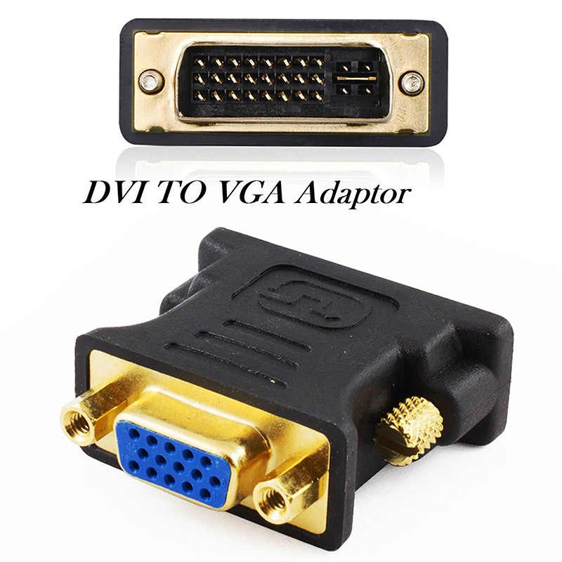 24 + 5Pin DVI to VGA Adapter Digital to Analog DVI-I PC TFT Beamer Plug Socket Converter YE-Hot