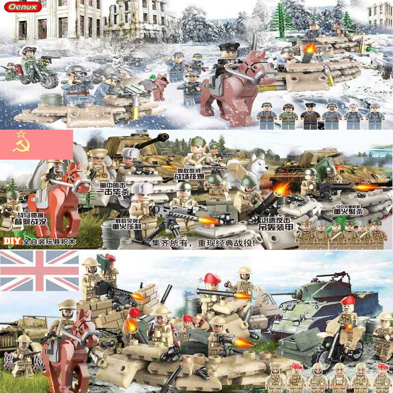 Oenux WW2 Classic Military Mini Soldiers Building Block Soviet British US German Army Building Brick MOC Toy For Kids Gift