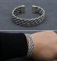 Винтаж чистого серебра 925 переплетения группы манжеты браслет Для мужчин Для женщин простой Дизайн 100% реального стерлингового серебра 925 юв...