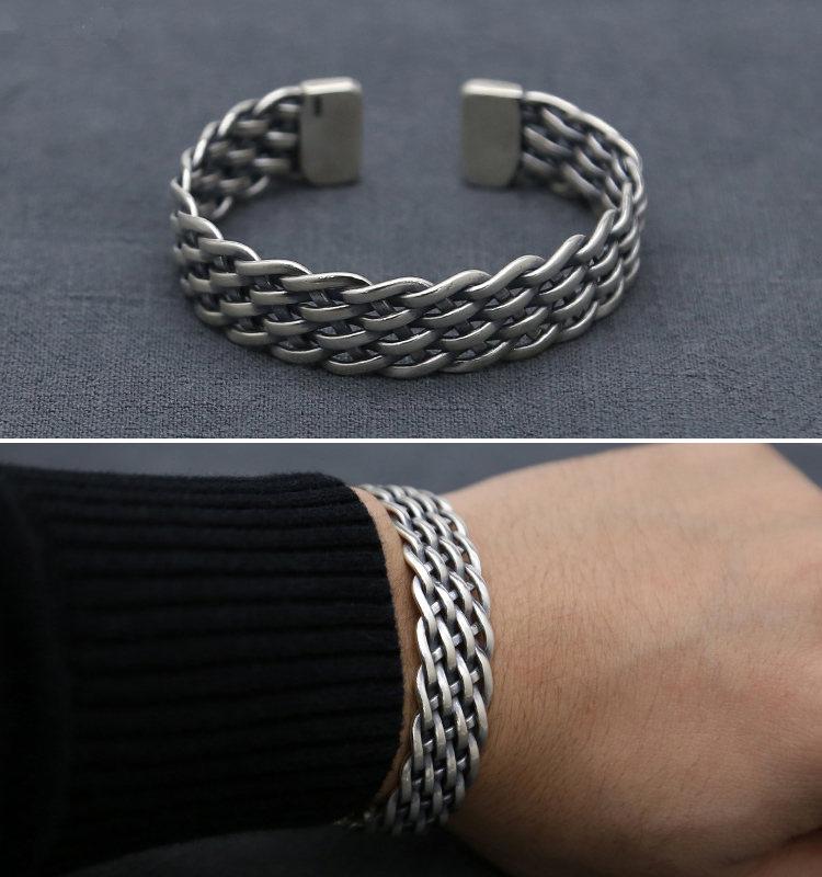 Vintage Solid Silver 925 Weave Band Cuff Bangle Bracelet