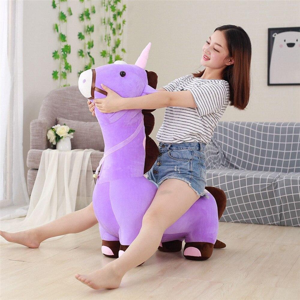 Fancytrader doux Anime licorne en peluche canapé jouet grand 120 cm farci bande dessinée monter sur cheval poupée chaise pourrait charger 50 kg sur le dos