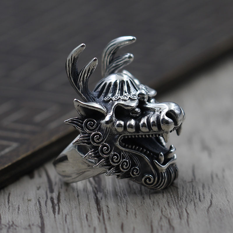 Retro Vintage faucet opening ring Silver Carved Silver 925 ring men's domineering personality building