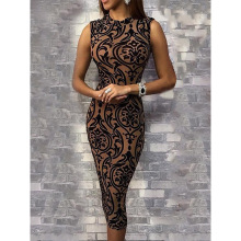 Винтажное облегающее платье миди с цветочным принтом, женское облегающее летнее платье-карандаш без рукавов, элегантные вечерние платья, vestidos verano
