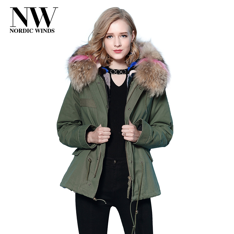 Nordic Winds Rabbit Fur Lined Parka Real Raccoon Fur Collar Womens Winter Jackets And Coats 2017 New Elegant Warm Hooded Parkas red stripe fur inside male coats winter wear keen warm elegant real raccoon fur collar cashmere fur parka