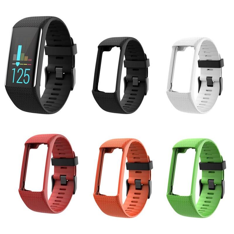 Vue Plein /écran et Fermoir en m/étal Bracelet en Silicone r/églable pour Hommes Femmes Compatible avec la Montre GPS Polar A360 A370 Bracelet de Remplacement pour Bracelet de Montre