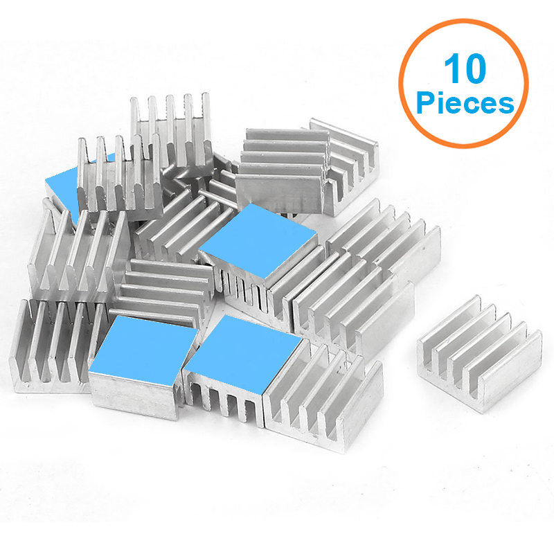 10pcs/lot Aluminum Heatsink 8.8x8.8x5mm with 3M 8810 Thermally Conductive Adhesive Tapes Electronic Chip Cooling Radiator Cooler 20pcs lot aluminum heatsink 14 14 6mm electronic chip radiator cooler w thermal double sided adhesive tape for ic 3d printer