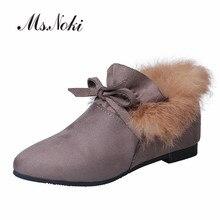 Модный бант-бабочка; женская обувь; женская повседневная обувь на танкетке без застежки; зимняя теплая короткая плюшевая Женская защитная обувь с кроличьим мехом
