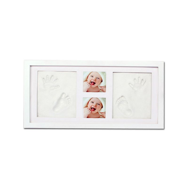 Newborn Baby Handprint Footprint Pictures Display Wood Photo Frame Growing DIY Souvenirs