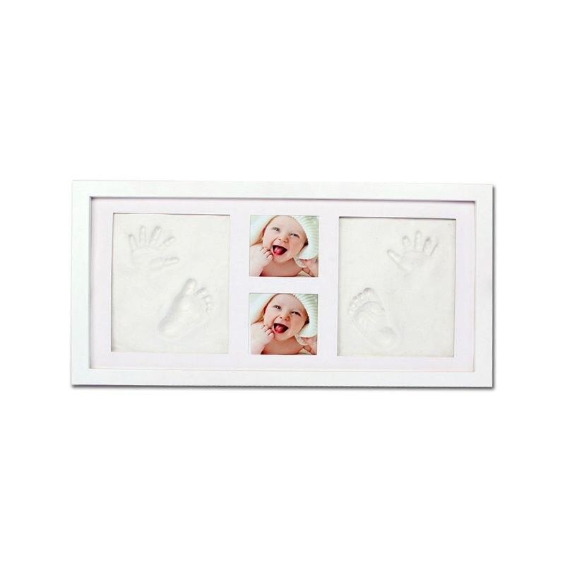 Newborn Baby Handprint Footprint Pictures Display Wood Photo Frame Growing DIY Souvenirs