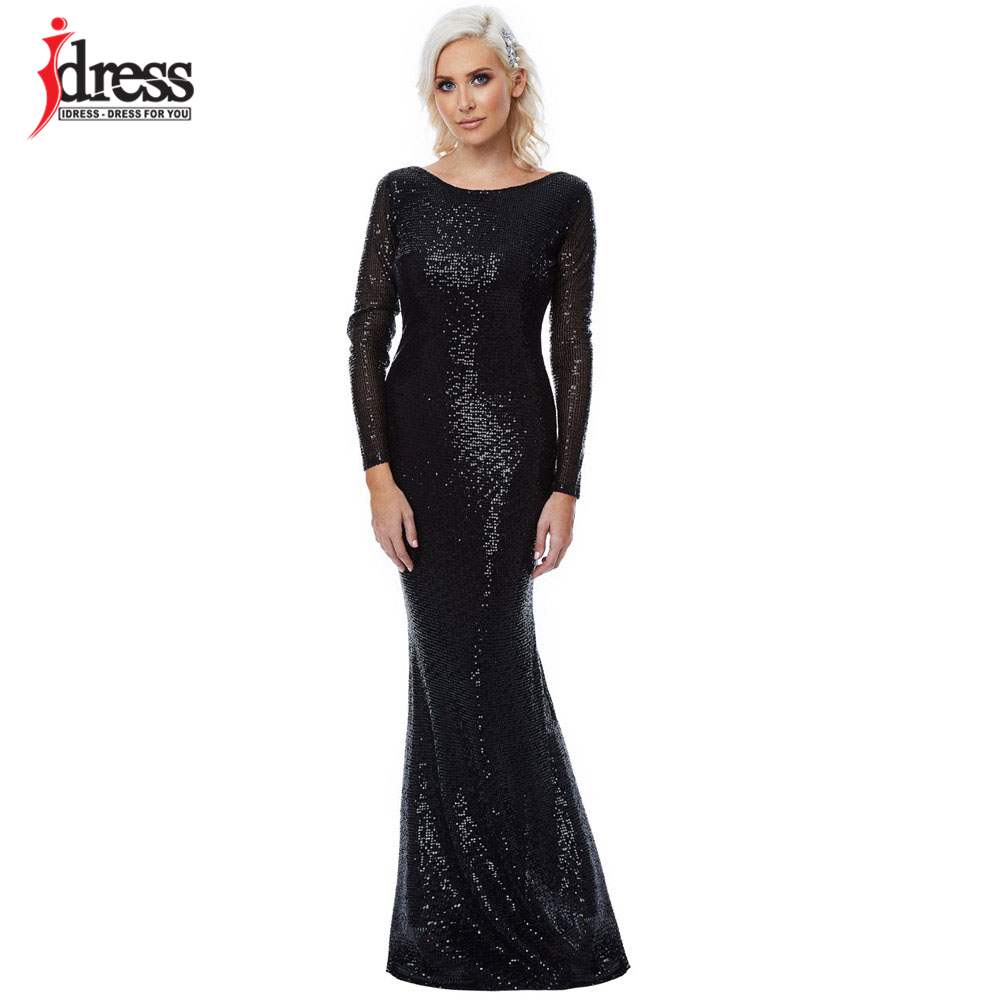 ... IDress Black Grey Sequin Maxi Long Dress Sexy Backless Nightclub  Evening Party Floor Length Full Sleeved ... 15f2fbaea5d9