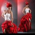 Moda Rojo y Negro de Navidad Vestido de Novia Trasero Largo Delantero Corto Sweetheart Cuentas de Encaje Tafetán Vestidos de Novia 2016 de La Boda