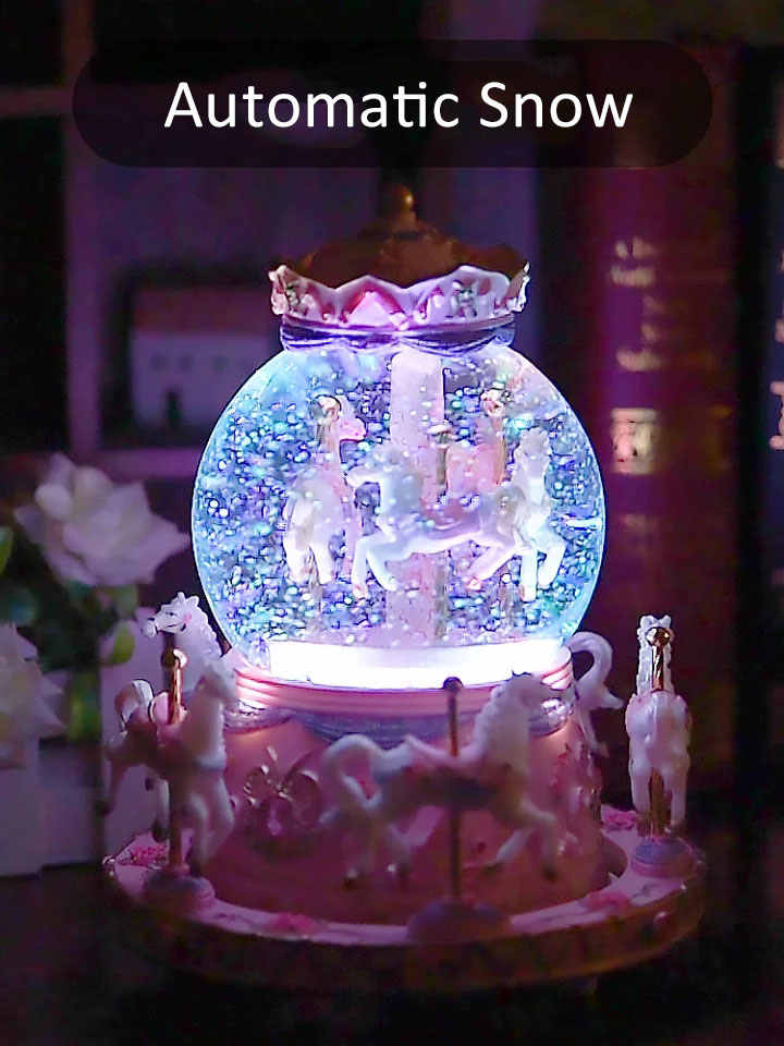 15*16cm Romantic Carousel Snow Globe Music Box Crystal Ball With Light Wedding New Year Birthday Christmas Gifts Home Decoration