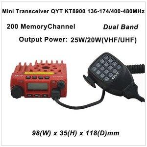 미니 트랜시버 QYT KT8900 136-174/400/480-MHz 양방향 라디오 듀얼 밴드 모바일 트랜시버 색상 빨간색
