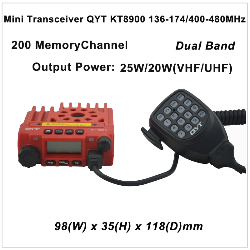 Mini Transceiver QYT KT8900 136-174/400-480MHz two way radio Dual band mobile transceiver Color Red