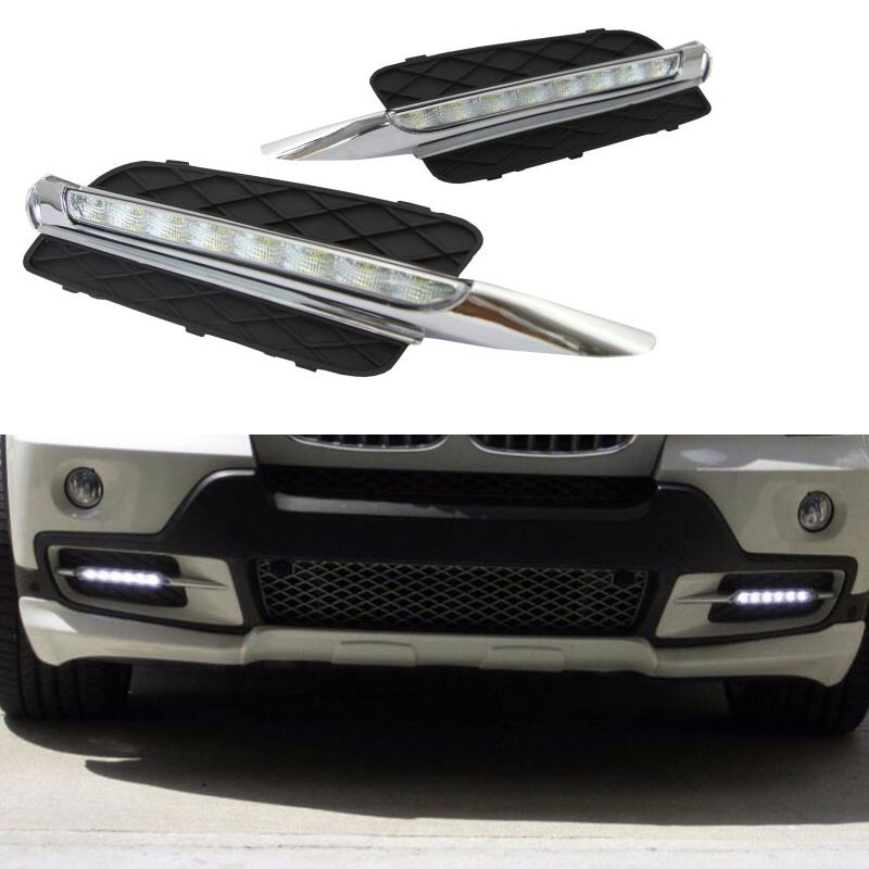 For BMW X5 E70 2007 2008 2009 2010 Super Brightness Waterproof 12V Car DRL LED Daytime Running Light Daylight цены