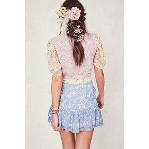 Image 4 - Boho loveshack summer dresses v neck ruffles slim silk like holiday ins bloggers patchwork special interest mini dress pleated