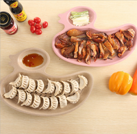 1 PCS Free Shipping Dumpling Plate With Dropping Duck Shape Cute Design Plastic Wheat Straw Tableware