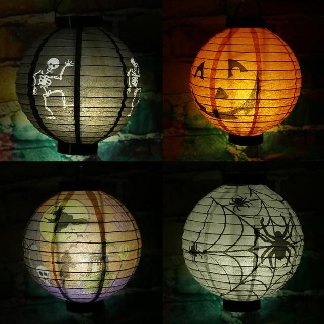 Halloween Scary Paper Lanterns LED Skeletons Paper Pumpkin Hanging on diy lantern table, diy lantern centerpieces, diy lantern ornaments,