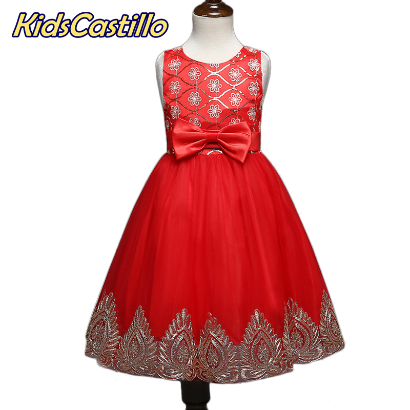 Girls dresses Princess Red wedding flower dress for little girl party graduation gown children vestido de festa infantil menina children girls dress summer lace sleeveless holiday party wedding princess a line dresses girl clothes vestido infantil 2968w