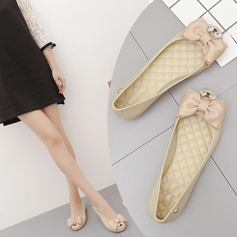 Rouroliu Women New Sweet Peep Toe Jelly Rain Shoes Crystal Bowknot Waterproof Water Shoes Wellies Shallow Woman RT389