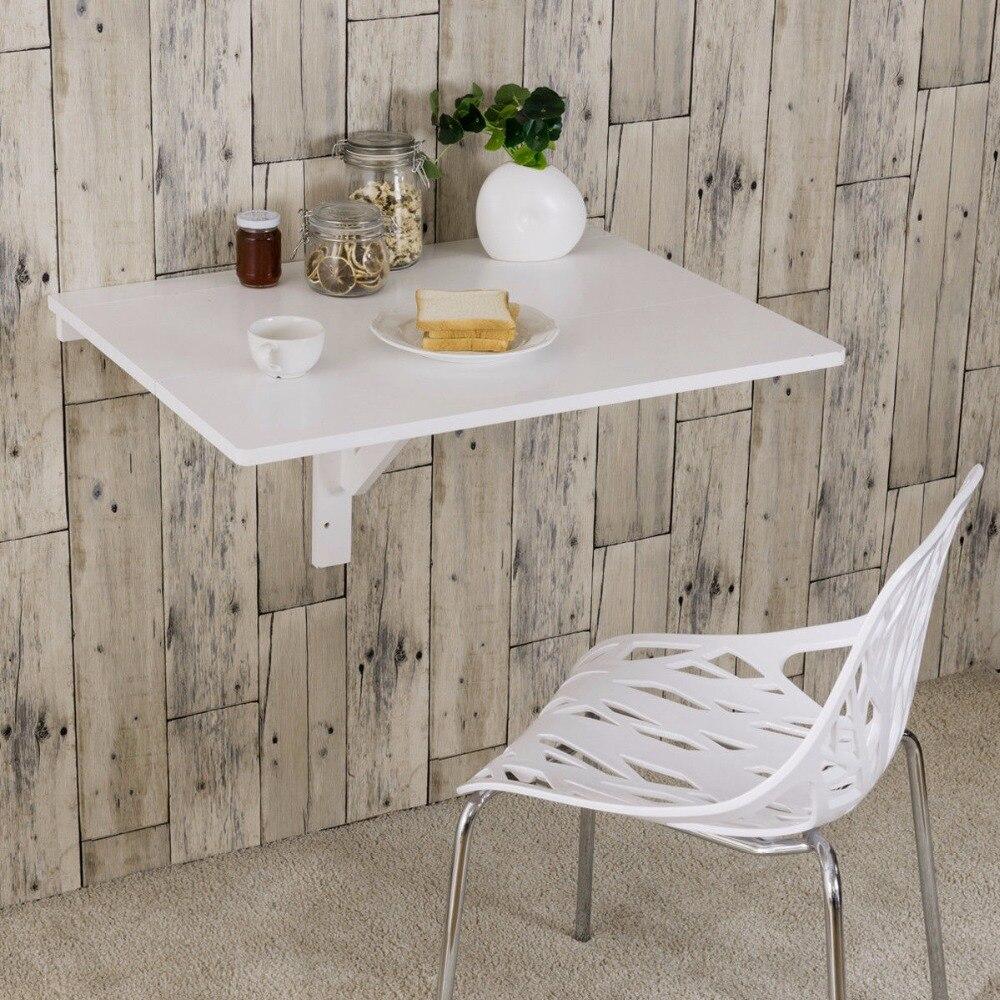 Giantex Table à poser murale pliante cuisine Table à manger bureau économiseur d'espace blanc bureau d'ordinateur HW60337 - 4