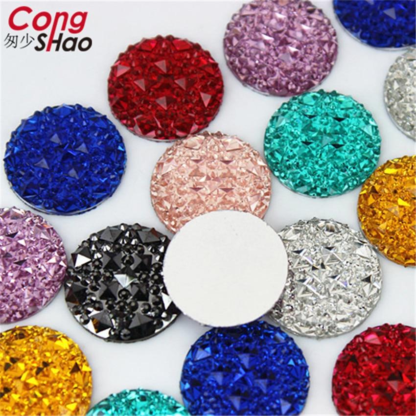 100pcs 20mm  Acrylic Crystal Superior Taiwan Flat Back Rhinestone Round Circle Shape beads No hole ZZ414