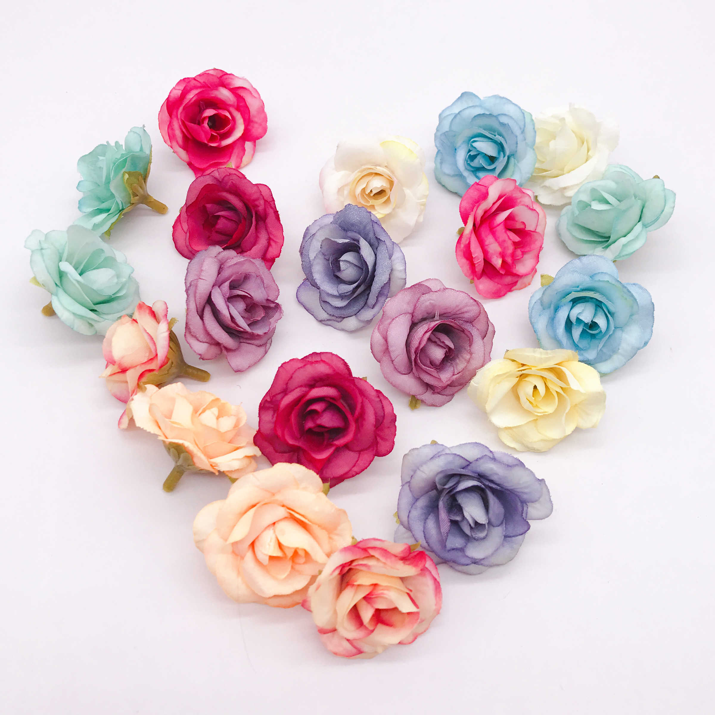 New 10pcs artificial flower 4cm silk rose flower head wedding party home decoration DIY wreath scrapbook gift box craft