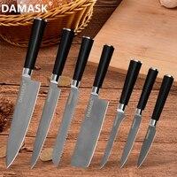 DAMASK Kitchen Knife Damascus Steel Chef Knives VG10 Japan Black Pakka Wood Handle Boning Utility Knife Cutlery Sets High Grade