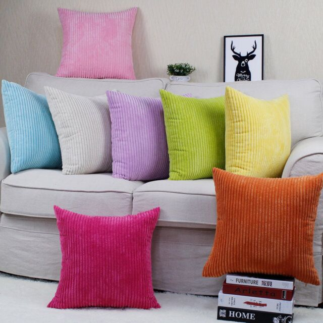 Fashion Promotion Stripe Soft Corduroy Plush Plaid Pure Colorful Cushions Home Decor For Sofa Beding Decorative Throw Pillowcase