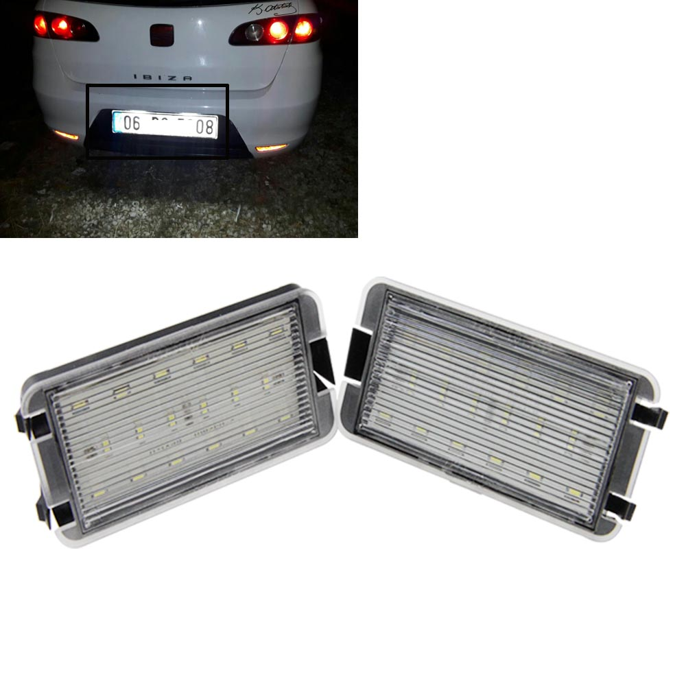 New Car 12V LED License Number Plate Lights for VW,canbus 18SMD led tail license light for SEAT AROSA IBIZA CORDOBA LEON TOLEDO smaart v 7 new license