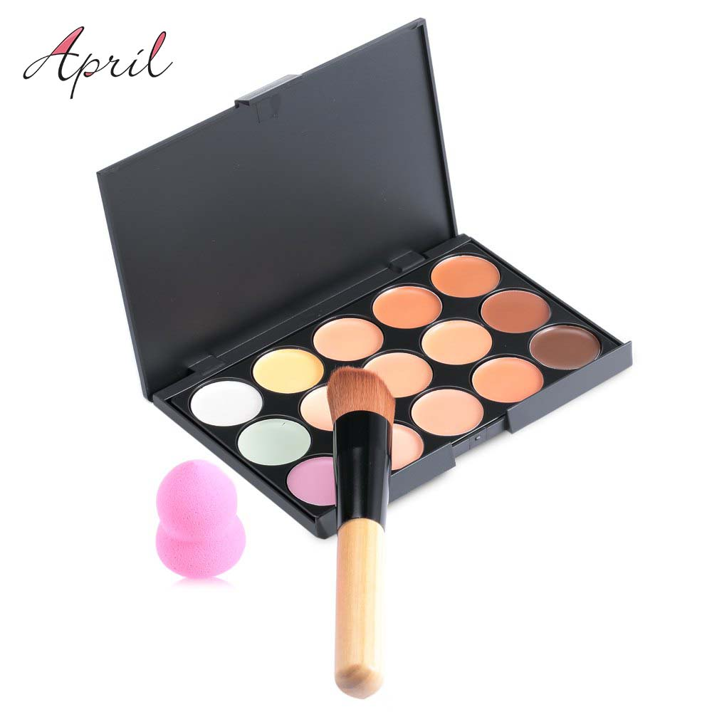 New 15 colors contour face cream makeup set for pincel maquiagem concealer palette with powder puff