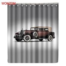 купить WONZOM 3D Polyester Car Shower Curtains with 12 Hooks For Bathroom Decor Modern Bath Waterproof Curtain New Bathroom Accessories дешево