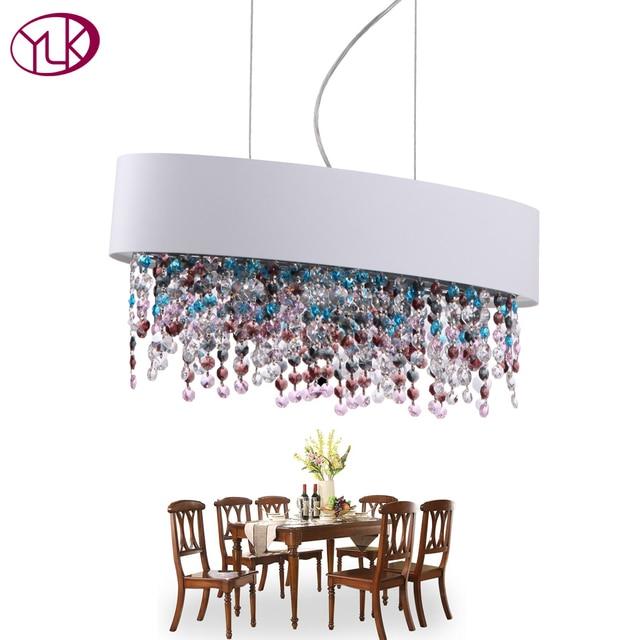 Charmant Top Luxus Bunte Kristall Licht Kronleuchter Für Esszimmer Oval Design  Hängen Kristall Lampe Bar Kaffee FÜHRTE