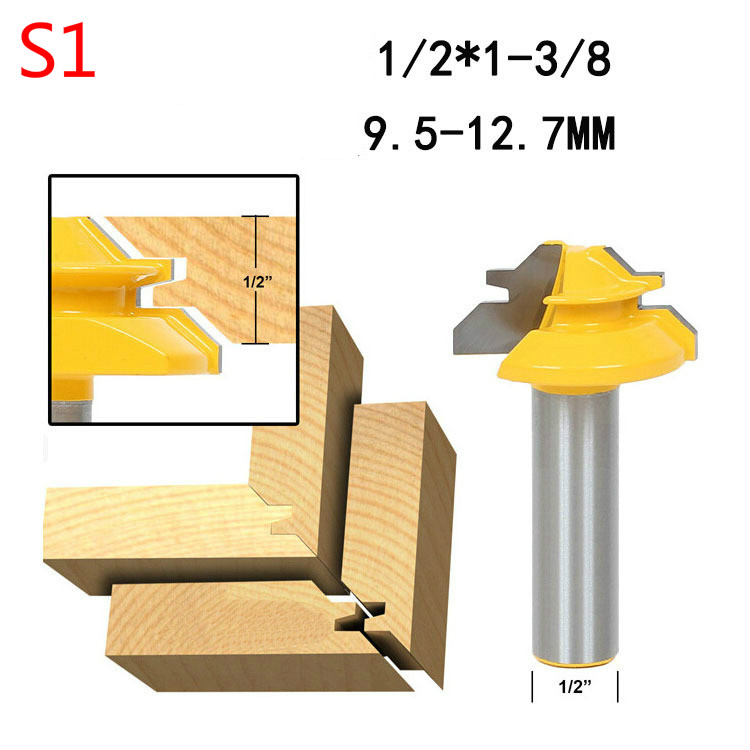 1PC Small Lock Miter Router Bit Anti-kickback 45 degree 1/2 inch Stock 1/4 inch Shank Tenon Cutter for Woodworking Tools high grade carbide alloy 1 2 shank 2 1 4 dia bottom cleaning router bit woodworking milling cutter for mdf wood 55mm mayitr