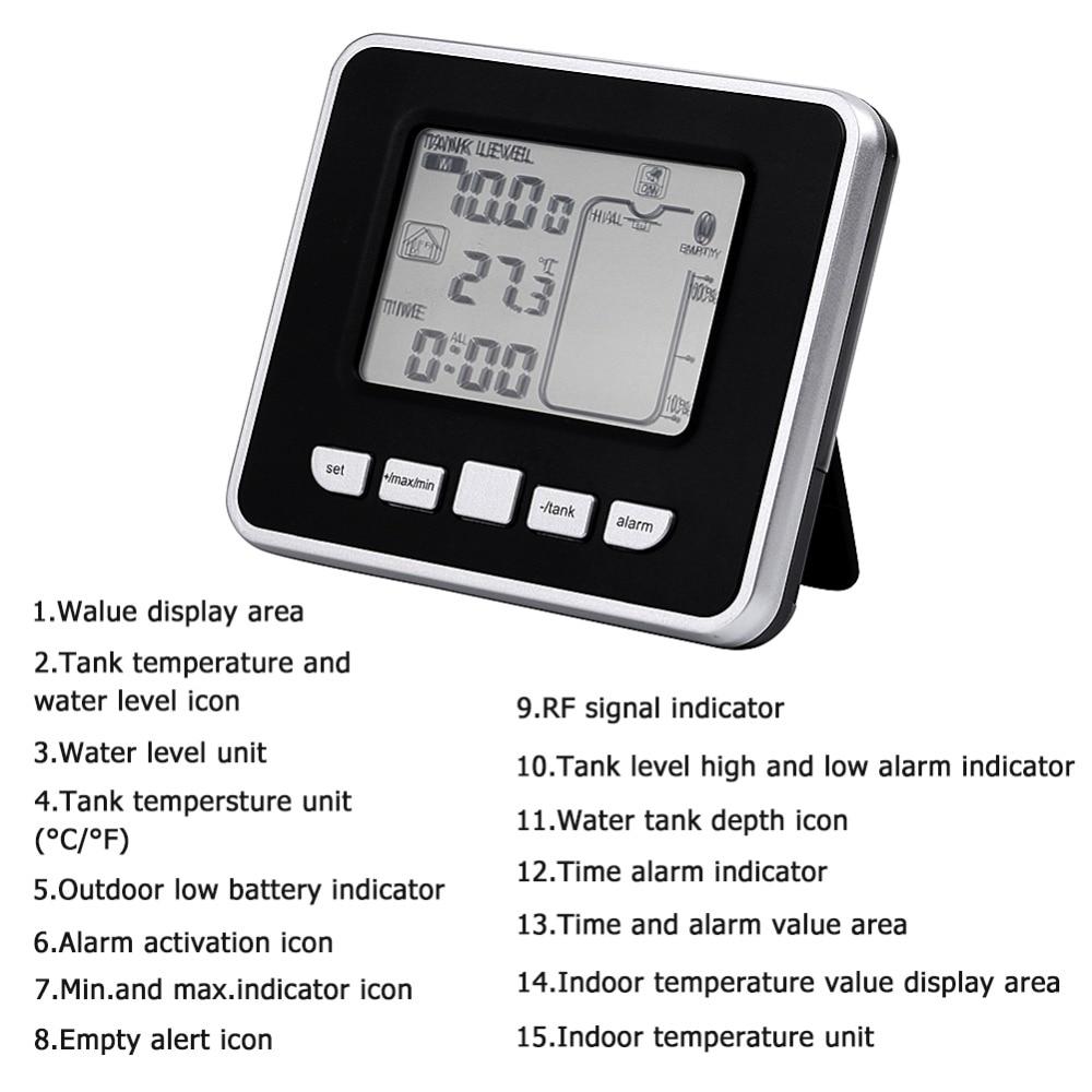 1 Kit High Quality Ultrasonic Water Tank Level Meter Thermo Sensor LED Display