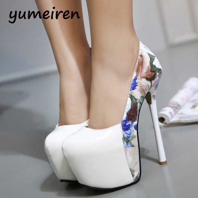 85d3b58f181 white wedding shoes flower print Platform pumps Extreme High Heels Shoes  Sexy Pumps ladies heels 2016 Evening Party shoes X6-in Women's Pumps from  ...