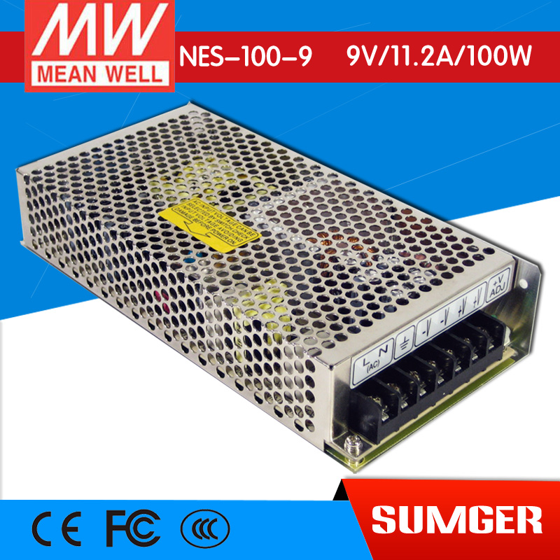 ФОТО [Freeshiping 2Pcs] MEAN WELL original NES-100-9 9V 11.2A meanwell NES-100 9V 100.8W Single Output Switching Power Supply