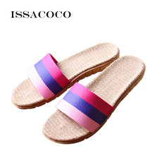 ISSACOCO Womens Summer Flat Non-slip Linen Slippers Indoor Breathable Flip Flops Women Brand Stripe Flax Slides