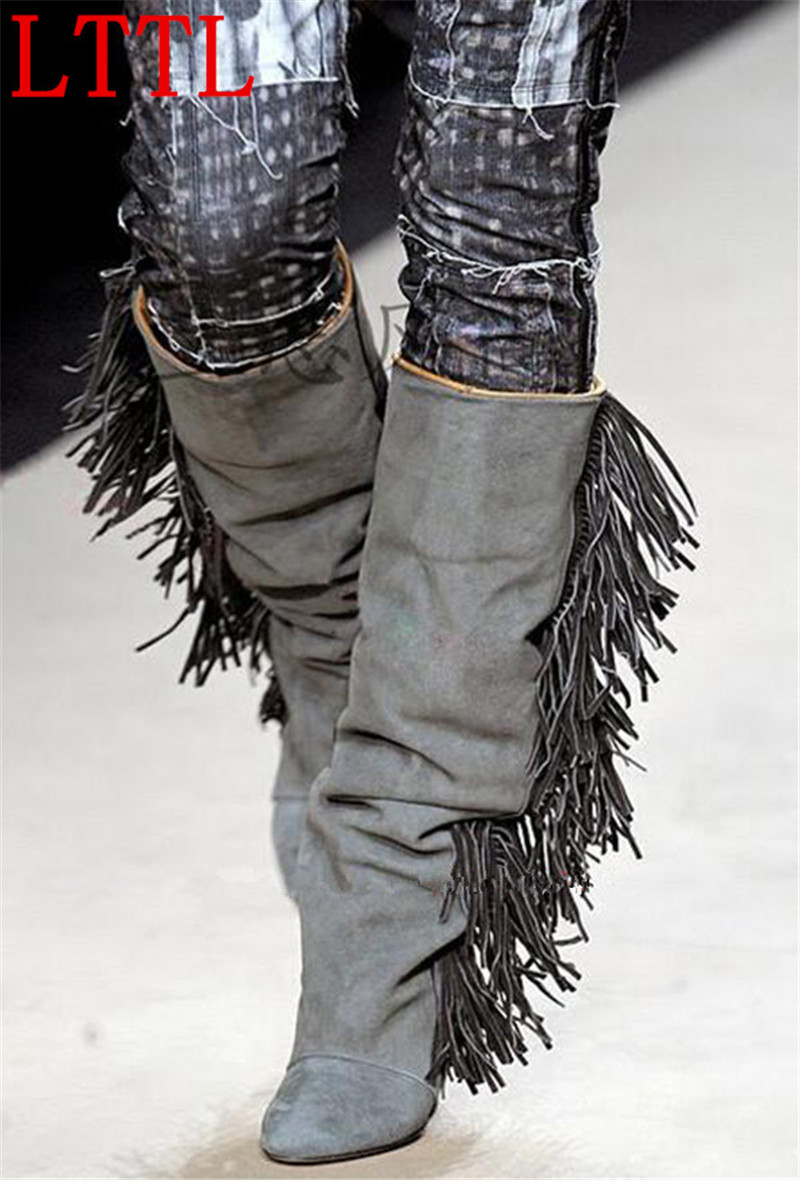 Hot Selling Leather or Suede Fringe Wedge Boots Fashion Show Tassel Shoes Woman Fall Knee High Boots Women Top Quality Boots