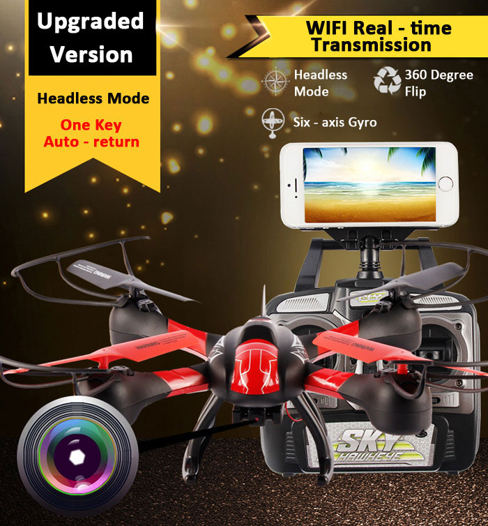 SKY HAWKEYE 1315W helicoptero Headless Mode WIFI FPV Real Time Transmission 4CH 2.4G RC Quadcopter drone with camera Helicopter wltoys v686g 4ch 5 8g fpv real time transmission 2 4g rc quadcopter with 2 0mp camera headless mode auto return function us plug