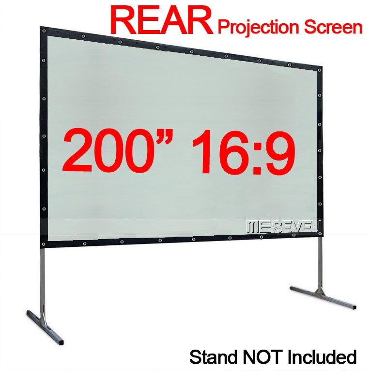 Cortina de película de pantalla de proyección trasera, Material de PVC de pliegue rápido 16:9 de 200 pulgadas, con ojales para proyector HD, películas al aire libre