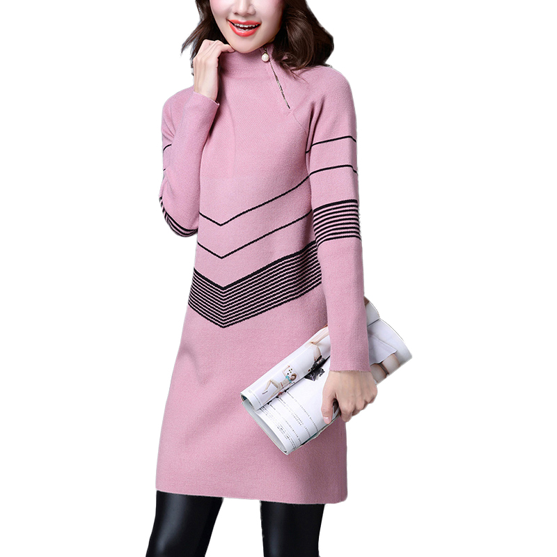 2017 autumn winter long sweaters women Turtleneck Geometric pullovers sweaters knitted christmas sweater pull femme hiver