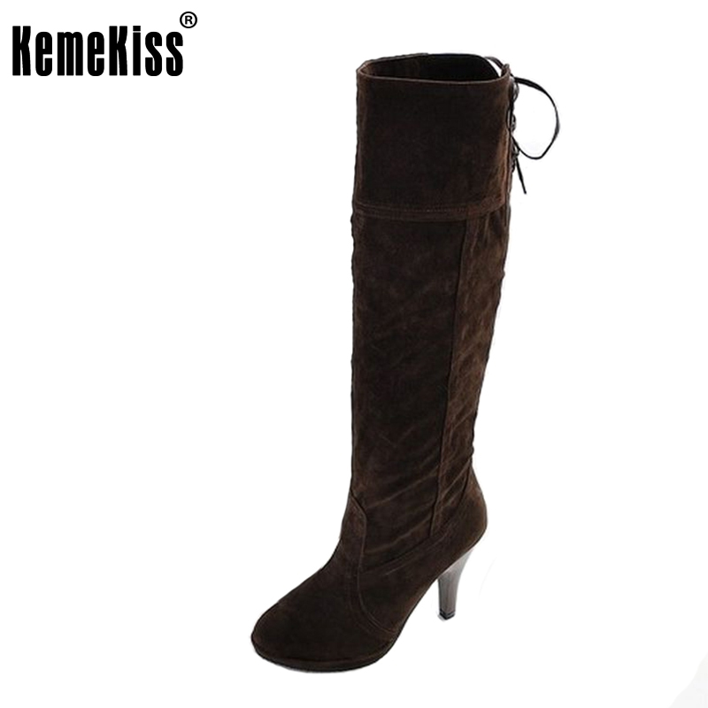 Free shipping knee boots women fashion snow winter footwear high heel shoes sexy warm half boot P6923 EUR size 34-39 цены онлайн